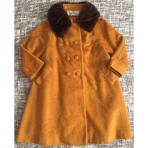 VTG Lilli Ann Paris Mustard Fur Collar Coat